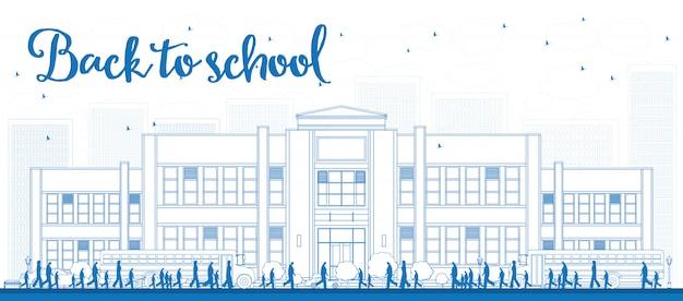 Paisagem de contorno com ônibus escolar, prédio da escola e pessoas