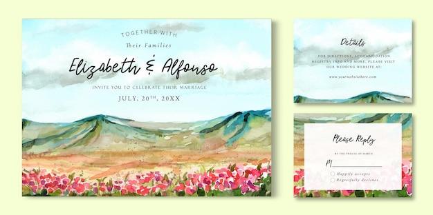 Paisagem de convite de casamento em aquarela de mountain view e campos florais cor de rosa