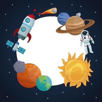 Paisagem de cores fundo de céu estrelado com quadro circular de ícones espaço e planetas