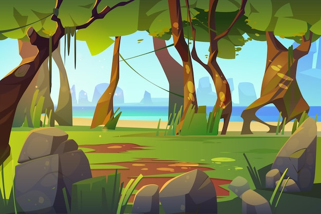 Paisagem de desenho animado com vista da floresta e do mar, plano de fundo do cenário, árvores naturais, musgo em troncos e rochas no oceano