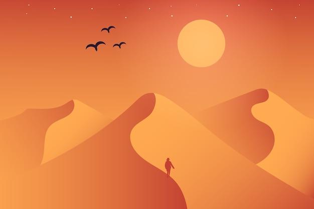 Paisagem de deserto onde a atmosfera é muito quente durante o dia