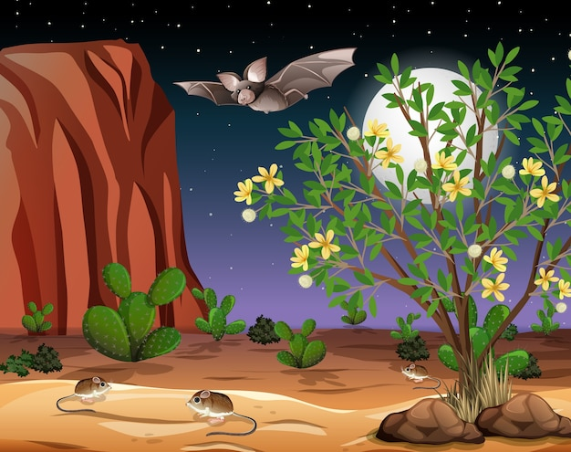 Paisagem de deserto selvagem à noite Vetor Premium