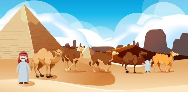 Paisagem de deserto selvagem em cena diurna Vetor grátis