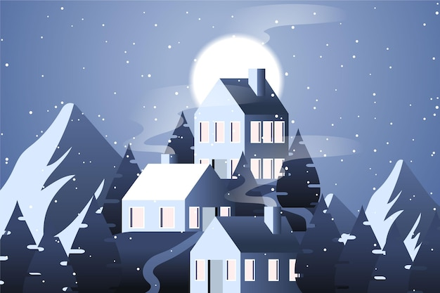 Paisagem de design plano com montanhas e casas