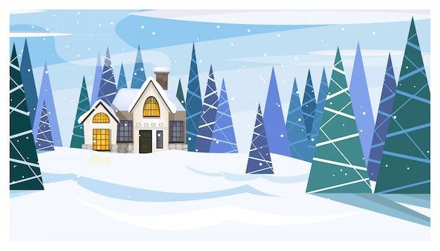 Paisagem de dia de inverno com casa de campo e árvores de abeto
