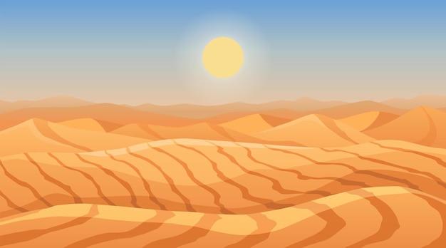 Paisagem de dunas do deserto. montanhas de areia. deserto seco dos desenhos animados sob o sol, deserto de areia sem fim. fundo de natureza, ilustração vetorial.