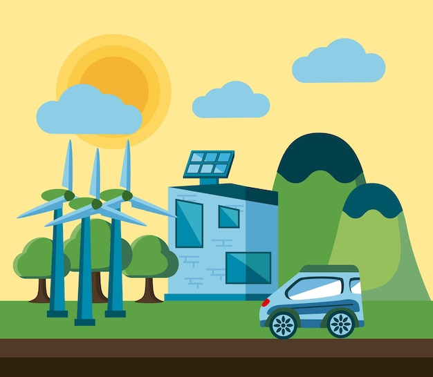 Paisagem de energia limpa