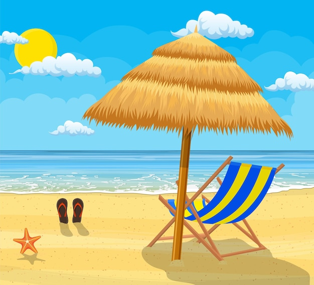 Paisagem de espreguiçadeira de madeira, guarda-chuva, chinelos na praia.