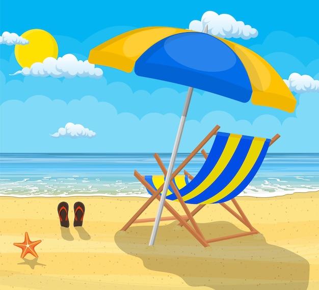 Paisagem de espreguiçadeira de madeira, guarda-chuva, chinelos na praia