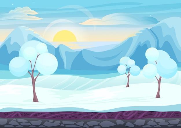 Paisagem de estilo de jogo de inverno dos desenhos animados