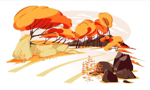 Paisagem de estrada florestal no outono com pedras, arbustos de laranjeira, árvores e montanhas plano colorido ve