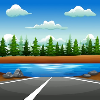 Paisagem de estrada para o rio