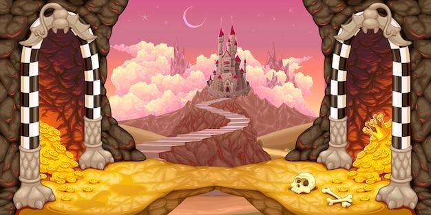 Paisagem de fantasia com castelo, cavernas e tesouro