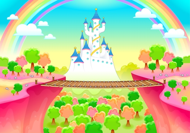 Paisagem de fantasia com castelo e ponte Vetor Premium