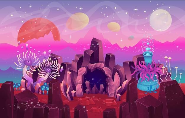 Paisagem de fantasia com uma caverna de plantas e cogumelos mágicos.