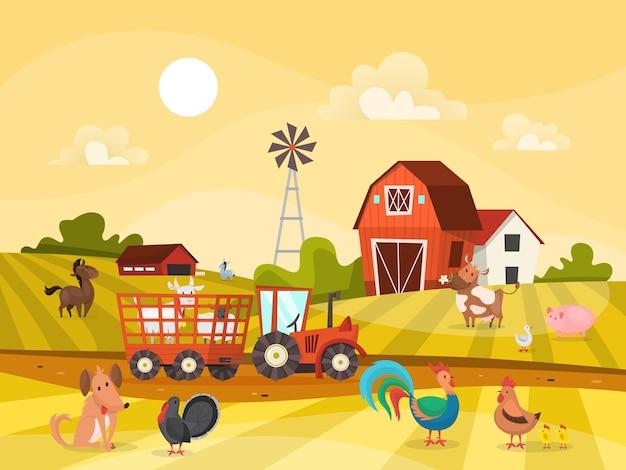 Paisagem de fazenda com campo verde, casa e trator