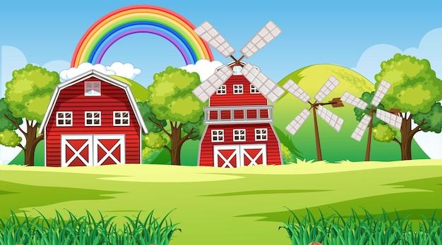 Paisagem de fazenda com celeiro e moinho de vento