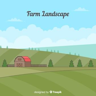 Paisagem de fazenda desenhada de mão