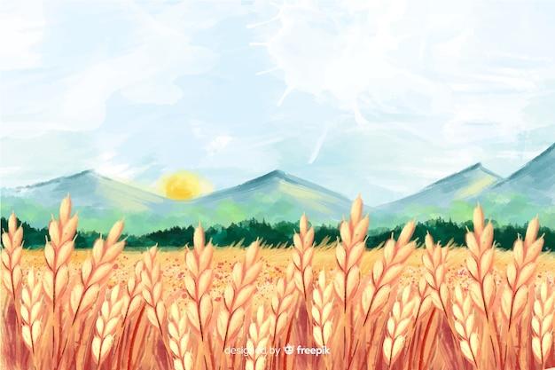Paisagem de fazenda em aquarela