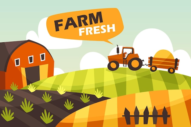 Paisagem de fazenda horizontal com um trator.