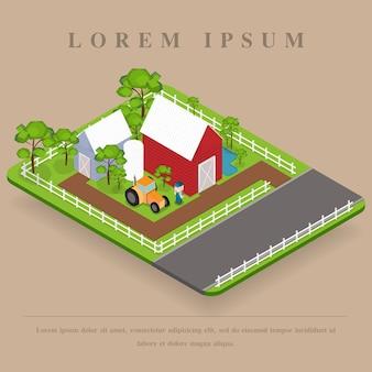Paisagem de fazenda isométrica