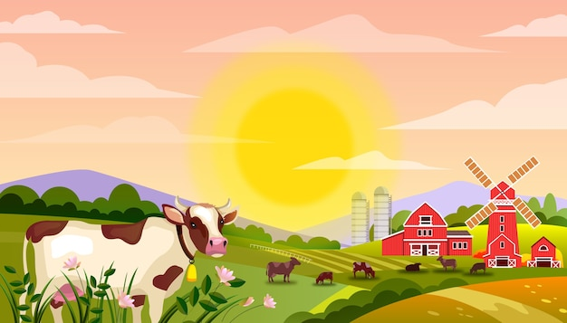 Paisagem de fazenda leiteira com touro, campos verdes, vacas, grande sol nascente, grama, moinho