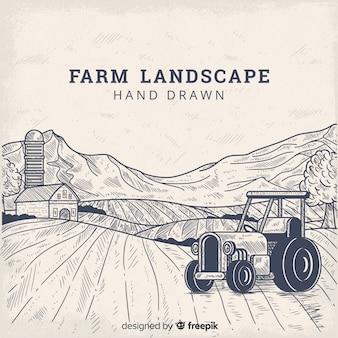 Paisagem de fazenda na mão desenhada estilo