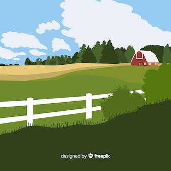 Paisagem de fazenda plana