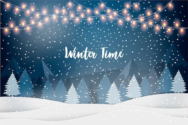 Paisagem de férias de inverno para feriados de ano novo