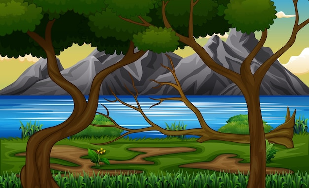 Paisagem de floresta à beira do lago com montanhas