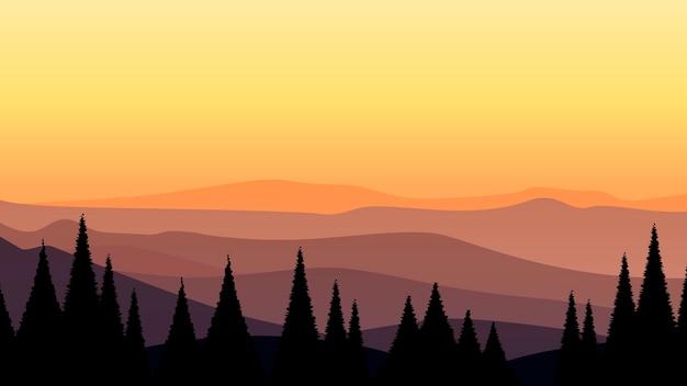 Paisagem de floresta de pinheiros ao pôr do sol à noite com ilustração do céu da montanha