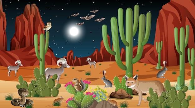 Paisagem de floresta deserta à noite com animais selvagens