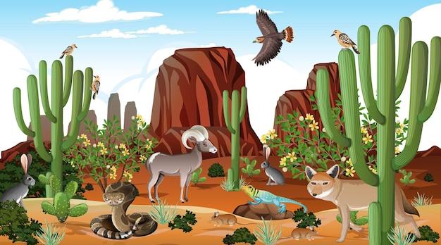 Paisagem de floresta deserta em cena diurna com animais selvagens