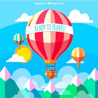 Paisagem de fundo com balões de ar quente em design plano