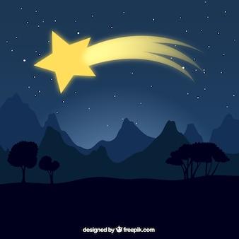 Paisagem de fundo com estrela cadente