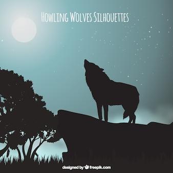 Paisagem de fundo com lobo uivando na lua