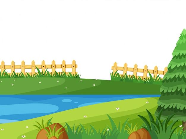 Paisagem de fundo com rio no parque