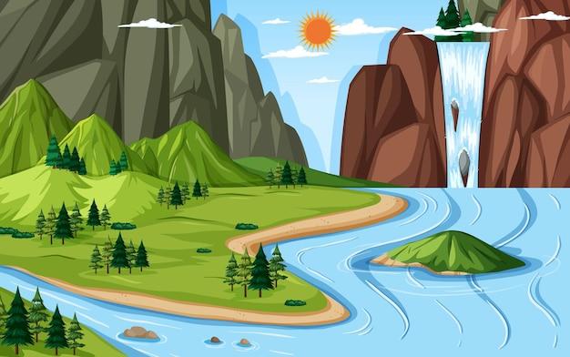 Paisagem de geografia terrestre e aquática