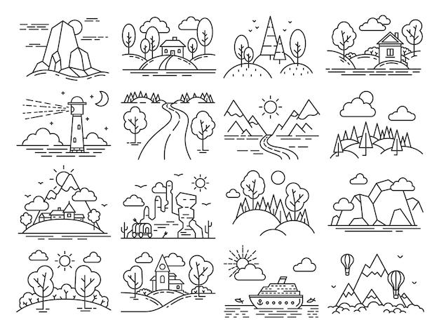 Paisagem de ícone de linha. delinear a cabine na floresta, montanha, mar linear, balões de ar no céu e no farol. conjunto de vetores de turismo de país de natureza. ilustração floresta natural, montanha natural e farol