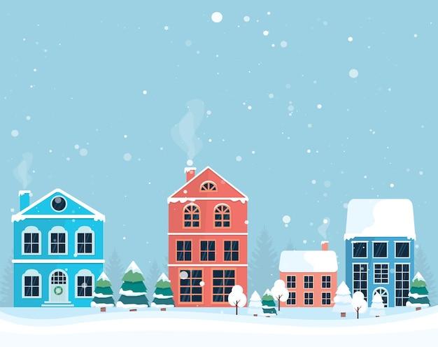 Paisagem de inverno. aldeia de natal de inverno. casa colorida. ilustração vetorial