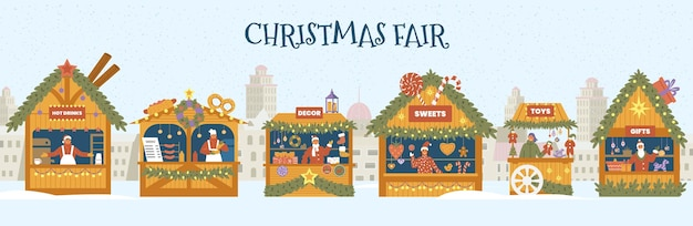 Paisagem de inverno com brinquedos, lembranças de comida e lojas de decoração com vendedores