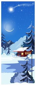 Paisagem de inverno com casa de campo, estrela cadente e pinheiros
