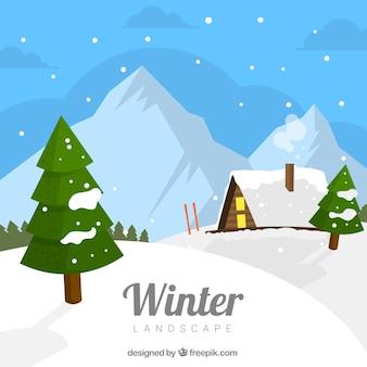 Paisagem de inverno com casa de madeira