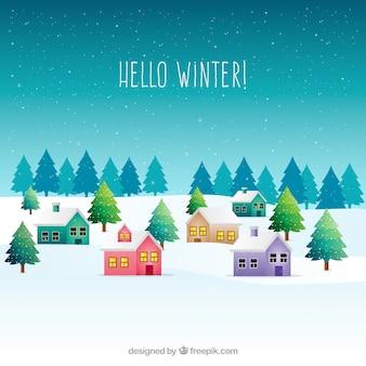 Paisagem de inverno com casas coloridas
