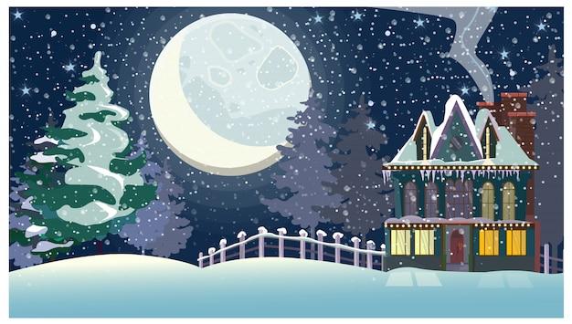 Paisagem de inverno com chalé e grande lua cheia