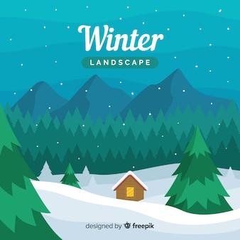 Paisagem de inverno com design plano