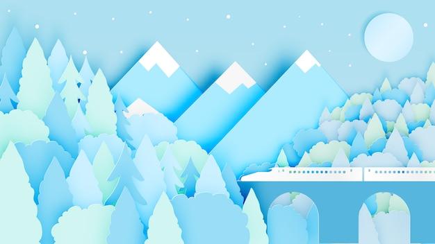 Paisagem de inverno com estilo de arte de papel e esquema de cores pastel