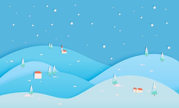 Paisagem de inverno com estilo de arte de papel e ilustração em vetor esquema de cor pastel