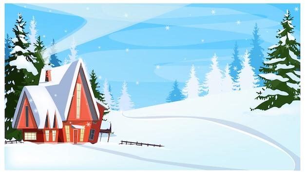 Paisagem de inverno com ilustração de casa de campo e pinheiros