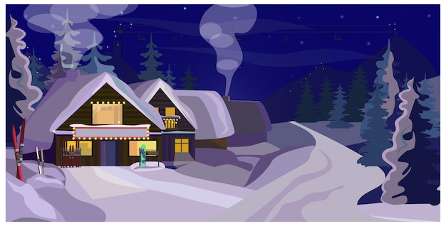 Paisagem de inverno com ilustração de casas de hóspedes